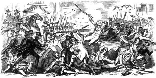 Столкновение рабочих-чартистов с войсками. Престон. Август 1842.
