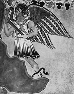 Мифология. Этруски. Этрусский демон загробного царства. Роспись склепа «Орко» близ Тарквинии. 3 в. до н. э.