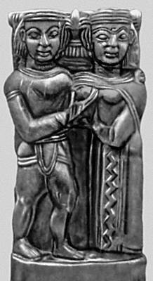 Зевс и Гера. Рельеф из святилища Геры на о. Самос. Дерево. Конец 7 в. до н. э. Музей Вати (о. Самос).