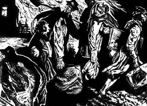 Р. Кальпо «Беженцы». Гравюра на дереве. 1942.