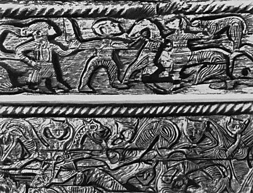 Резьба на повозке из Осеберга (Усеберга). 9 в. Музей кораблей викингов на полуострове Бюгдё. Осло.