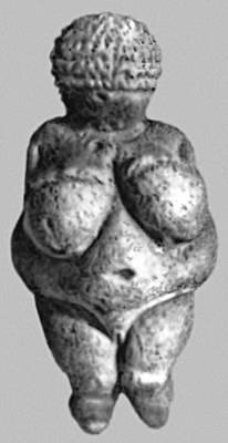 Т. н. Виллендорфская Венера. Известняк (из Виллендорфа, Нижняя Австрия). Верхний палеолит. Естественноисторический музей. Вена.