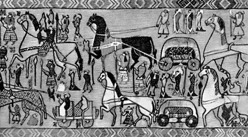 Тканный ковёр из Осеберга. Реконструкция. 9 в. Музей кораблей викингов на полуострове Бюгдё. Осло.