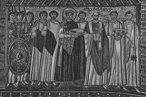Византия. «Император Юстиниан со свитой». Мозаика церкви Сан-Витале в Равенне. Ок. 547.