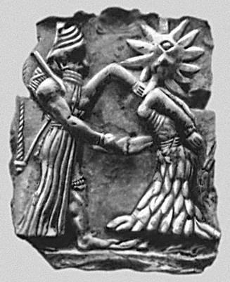 Мифология. Месопотамия. Битва бога солнца с чудовищем — «циклопом». Терракотовый рельеф из Хафаджи. Начало 2-го тыс. до н. э. Иракский музей. Багдад.