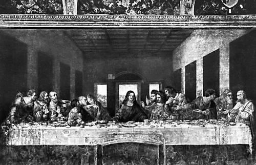 Леонардо да Винчи. «Тайная вечеря». Роспись в трапезной монастыря Санта-Мария делле Грацие в Милане. Масло, темпера. 1495—97.