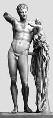 Пракситель (?). «Гермес с младенцем Дионисом». Мрамор. Ок. 340 до н. э. Музей Олимпии.