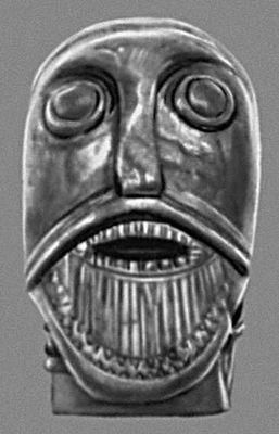 Голова викинга (из Осеберга). Дерево. Около 850. Университетский музей древностей. Осло.