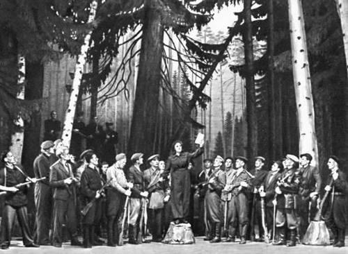 Сцена из оперы «Певец свободы» Э. А. Каппа. Театр оперы и балета «Эстония». Таллин. 1950.