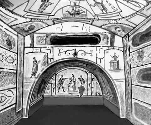 Одно из помещений катакомб Петра и Марцеллина в Риме. 3 в. н. э. Так называемая «Крипта мадонны».