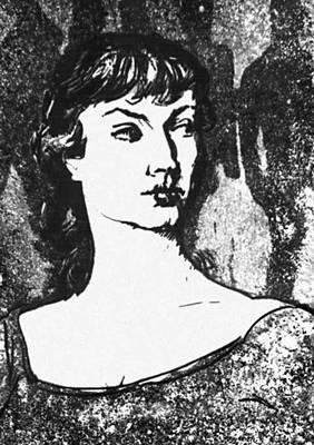 Э. Окас. «Девушка из Брюсселя». Из «Нидерландской серии». Сухая игла, акватинта. 1958.
