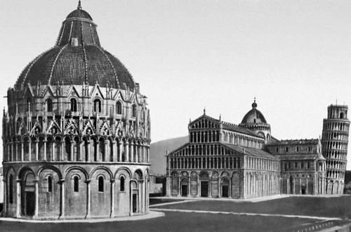 Соборный комплекс в Пизе. Баптистерий (начат в 1153), собор (1063—1160) и кампанила (1174—1372).
