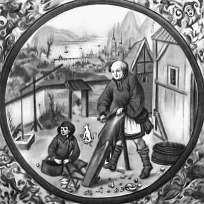Цех кожевников. Миниатюра из «Кодекса Бальтазара Бехема». Начало 16 в.