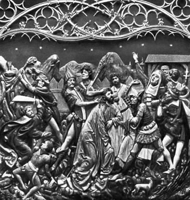 Вит Стош. «Взятие Христа под стражу». Фрагмент алтаря костёла Девы Марии в Кракове (дерево, 1477—89).