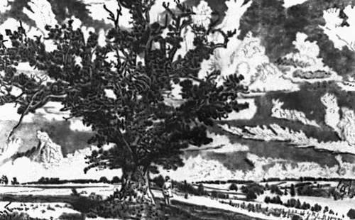 Э. Вийральт. «Пейзаж окрестностей Вильянди». Сухая игла. 1943.