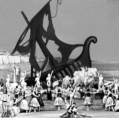 Сцена из балета «Наутеос» Ж. Леле. Балетм. С. Лифарь. Париж. 1954.