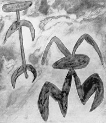 Схематические изображения человеческих фигур. Наскальная живопись. Неолит. Горы Сьерра-Морена. Испания.