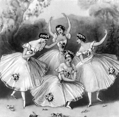 «Па-де-катр» в исполнении К. Гризи, М. Тальони, Л. Гран, Ф. Черрито. Балетм. Ж. Перро.