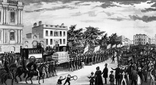 Шествие к парламенту для вручения чартистской петиции. Лондон. Май 1840.