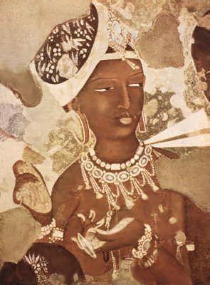 «Апсара» (небесная дева). Фрагмент росписи пещеры № 17 в Аджанте. 5 — нач. 6 вв.
