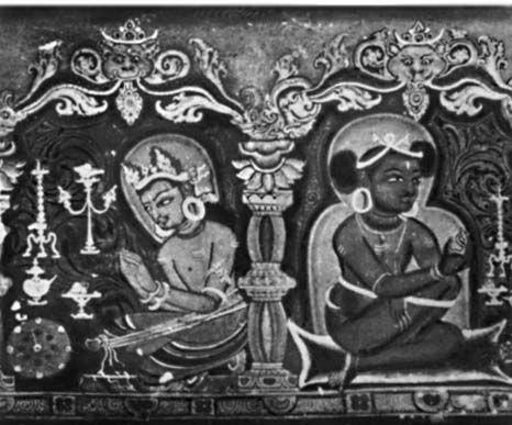 Миниатюра на деревянном переплёте рукописи. 12—13 вв. Библиотека Бир. Катманду.