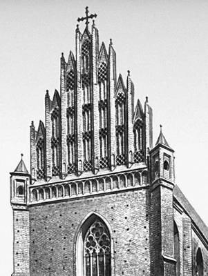 Архитектура 13—16 вв. Доминиканский костёл св. Войцеха во Вроцлаве. Западный фасад (15 в.).