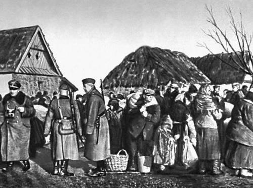 Польша в 1939—45. Выселение фашистскими оккупантами сельского населения в районе г. Замосць.
