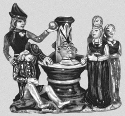 Чернильница «Суд Париса». Майолика. Италия. Начало 16 вв. Международный музей керамики. Фаэнца.
