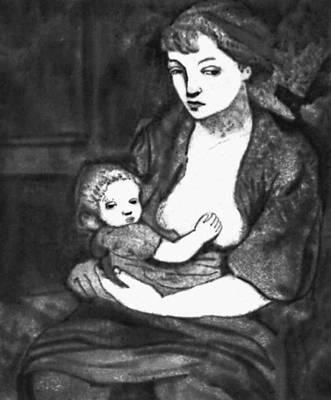 Эстонская ССР. А. Бах. «Мать с ребенком». Акватинта. 1937.
