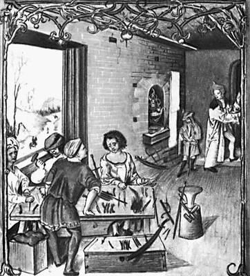 Неизвестный художник. «Мастерская оружейника». Миниатюра из «Кодекса Бальтазара Бехема». 1505. Ягеллонская библиотека. Краков.