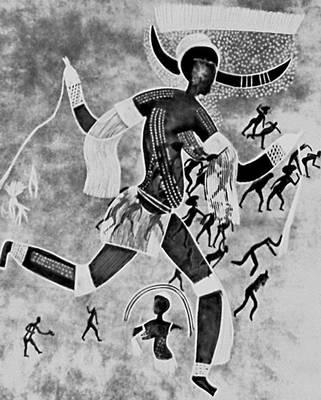 Мифология. Сахара. «Рогатая богиня», или «Белая дама». Фреска. Эпоха неолита. Ауанрхет.
