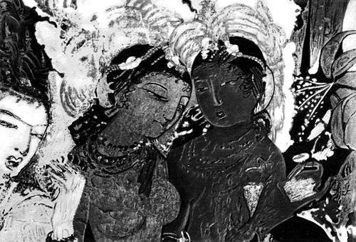 «Божество Индра и небесные девы-апсары». Живопись в пещере № 17. 5 — нач. 6 вв.