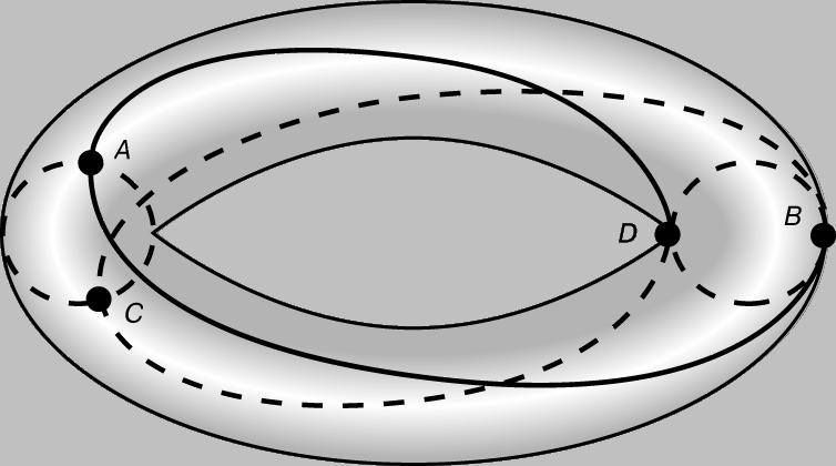 Рис. 5. ТОРОИДАЛЬНОЕ ПОЛЕ стелларатора или токамака. Частицы, многократно обегая пространство внутри тора вдоль магнитной силовой линии, описывают тороидальную поверхность и тем самым не позволяют скапливаться электрическим зарядам. Типичная траектория частицы - ADCBA.
