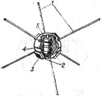 ИСЗ Авангард-1: 1 - антенны; 2 - солнечные батареи; 3 - передатчик с электропитанием от солнечных батарей; 4 - химические батареи: 5 - передатчик с электропитанием от химических батарей