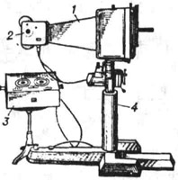 Малокадровый флюорограф Ф-55: 1 - тубус; 2 - фотокамера; 3 - пульт управления; 4 - штатив