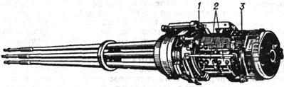 Шестиствольная 20-мм авиационная пушка Вулкан М-61А (США): 1 поперечные направляющие подачи патронов и отражения гильз; 2 - направляющие затворы; 3 - механизм переключения движения затворов