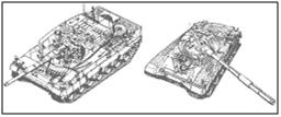 Компоновка танка «Леопард-2» является типичной для западного подхода к танкостроению, в результате чего, забронированный объем танка составил 19.4 М3, что, практически в 2 раза превышает этот показатель для Т-80У. Соответственно ясно видно, что на бронирование 46 тонного Т-80У использовано больше бронирования, чем на 55-тонный «Леопард-2»
