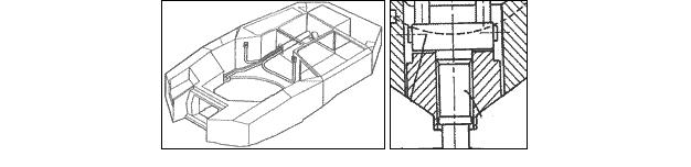Схема башни танка «Леопард-2»,  видны обширные ослабленные зоны и неоднородность бронезащиты в углах безопасного маневрирования, связанные с конструктивными решениями принятыми немецкими разработчиками - установка прицела наводчика в лобовой детали башни, размещение пушки в массированной маске, лишенной спецбронирования, слабая защита бортов башни.
