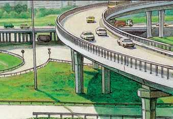 Трёхъярусная эстакада на пересечении Ленинградского шоссе и кольцевой автомобильной дороги в Москве