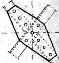 фасонка, имеющая форму вытянутого параллелограма со срезанными углами по длинной диагонали. Р. служит в качестве накладки для перекрытия стыков уголков, а также для соединения между собой над поперечной балкой верхних поясов продольных балок в двух смежных панелях. В последнем случае такая фасонка наз. Р., если даже она имеет очертание вытянутого прямоугольника.