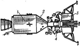 Космический корабль Аполлон: / - двигательный отсек; 2 - отсек экипажа; 3 - посадочная ступень лунной кабины; 4 - взлётная ступень лунной кабины