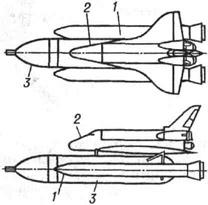 Космический корабль Спейс шаттл: 1 - твердотопливный ускоритель; 2 - орбитальная ступень; 3 - подвесной топливный бак