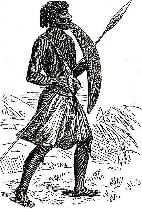 Обитатель верховьев Нила, вооруженный копьями