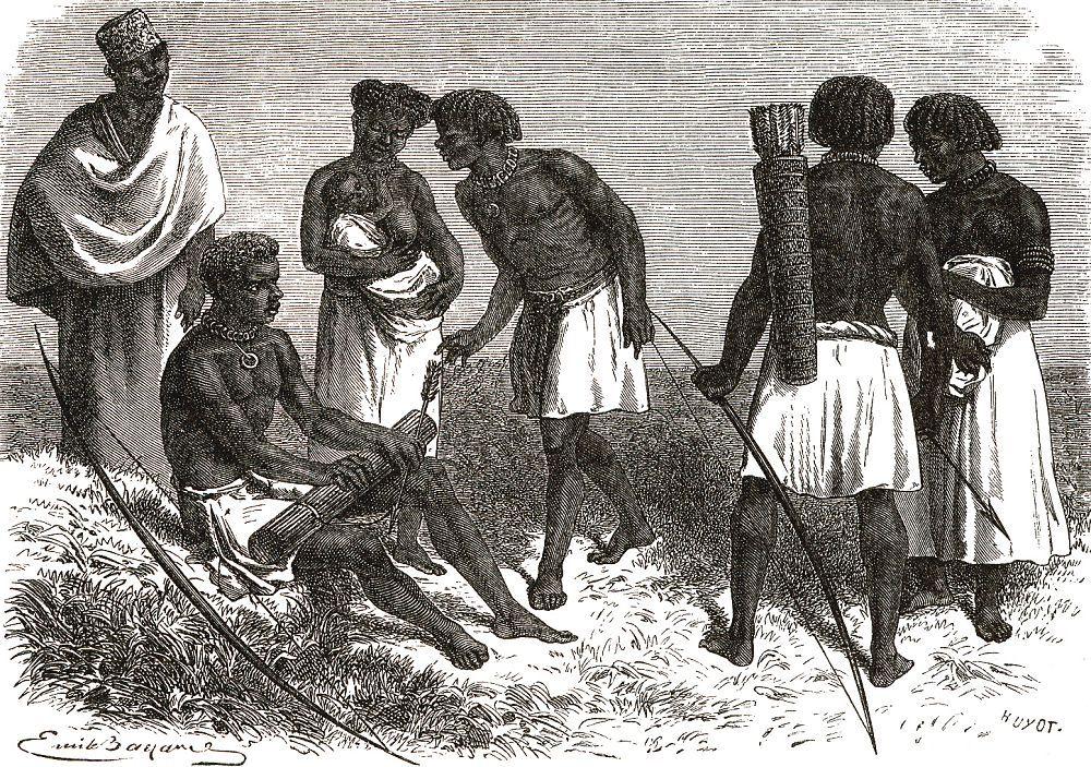 Обитатели верховьев Нила, вооруженные луками