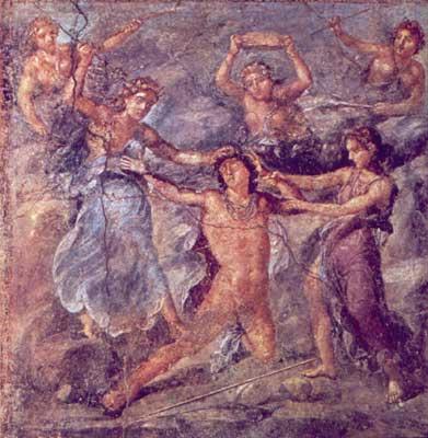 Вакханки убивают Пенфея.