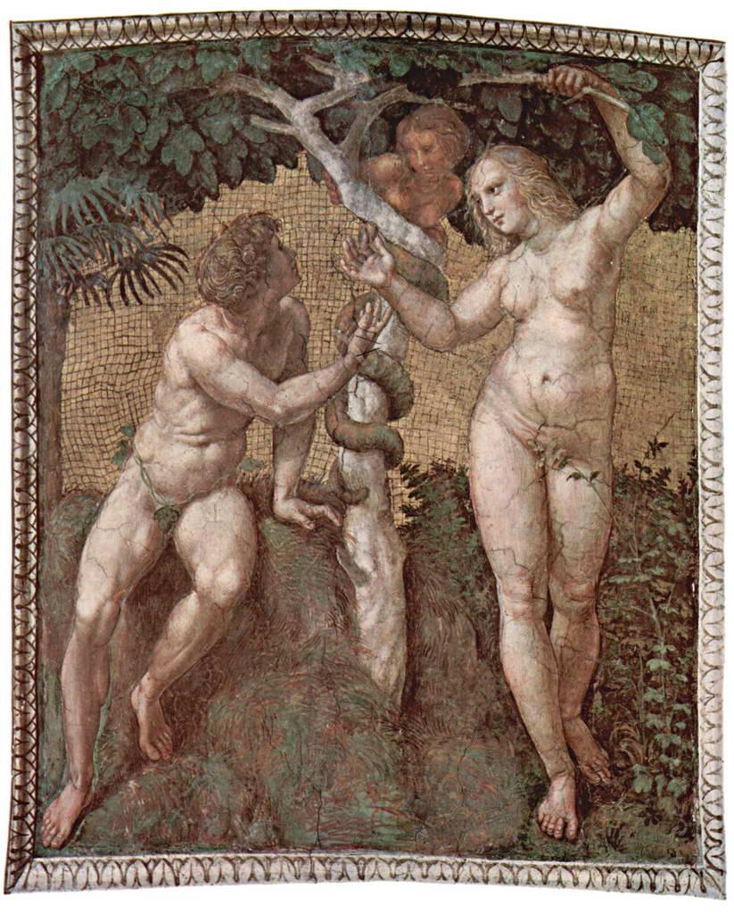 Рафаэль (мастерская). Станца делла Сеньятура в Ватикане: Адам и Ева.  1508 г.