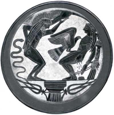 Атлант и Прометей, которого терзает орёл Зевса.