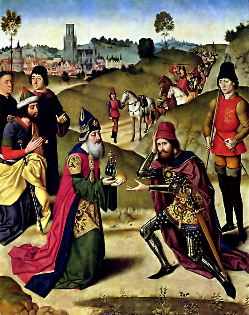 Дирк Боутс.    Створчатый алтарь в церкви св. Петра в Лёвене: Aвраам и Мельхиседек.    1464–1467 гг.