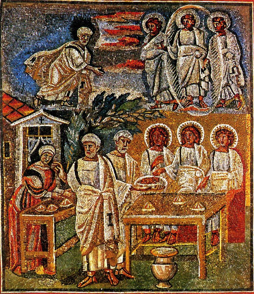 Гостеприимство Авраама. Мозаика базилики Санта Мария Маджоре  в Риме.    430–440 гг.