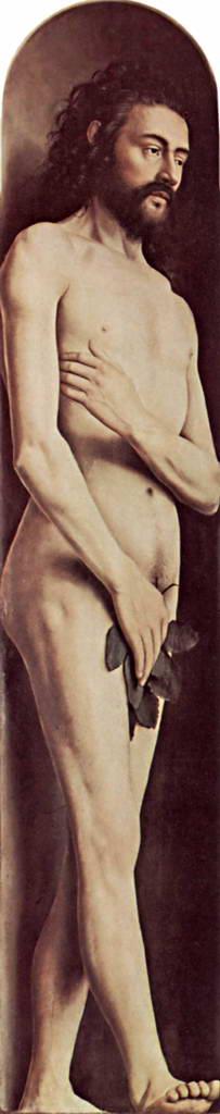 Хуберт ван Эйк.  Гентский алтарь: Адам.  До 1426-1432 гг.